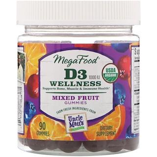 MegaFood, D3 Wellness, Mixed Fruit, 1000 IU, 90 Gummies