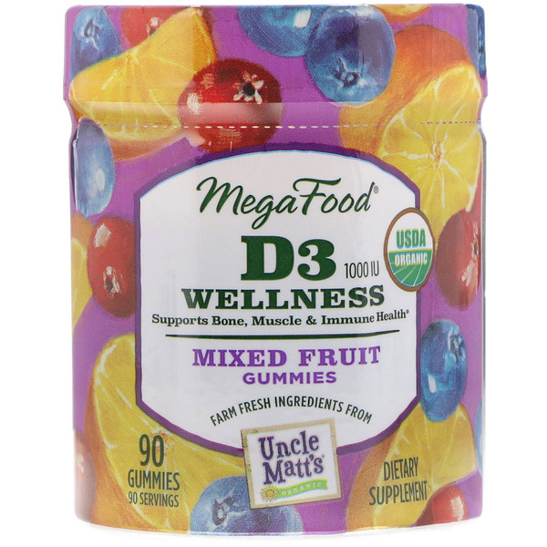 :MegaFood, D3 Wellness, 1000 IU, Mixed Fruit, 90 Gummies