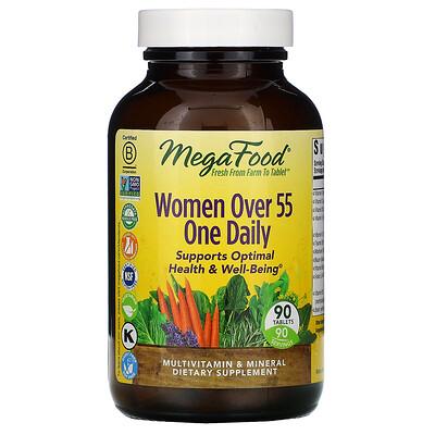 Купить MegaFood Women Over 55, мультивитамины для женщин старше 55лет, для приема один раз в день, 90таблеток