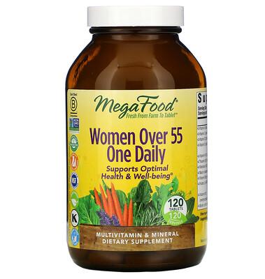 Купить MegaFood комплекс витаминов и микроэлементов для женщин старше 55 лет, для приема один раз в день, 120таблеток