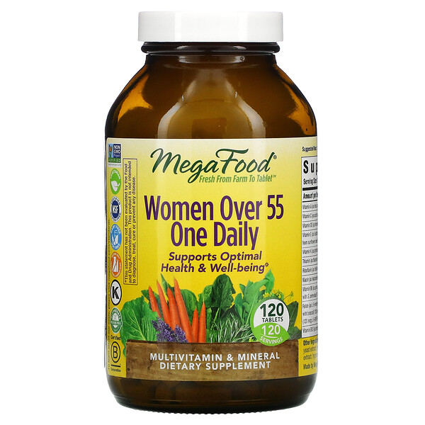 MegaFood, One Daily, טבליה אחת ליום לנשים מעל גיל 55, 120 טבליות