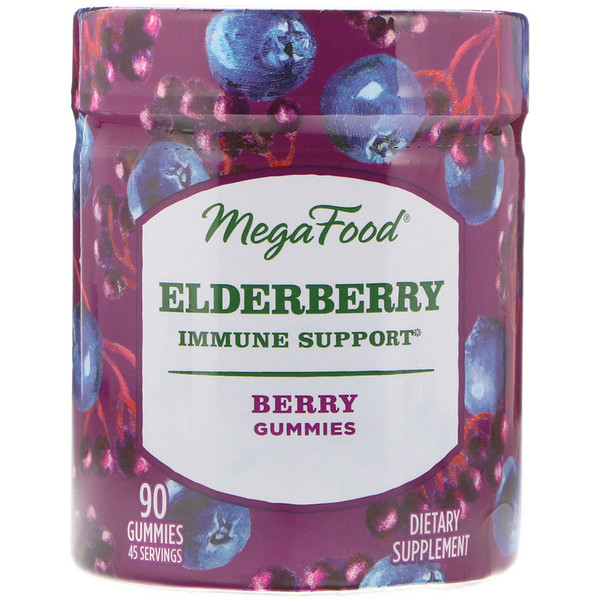 MegaFood, Elderberry, Immune Support, Berry, 90 Gummies