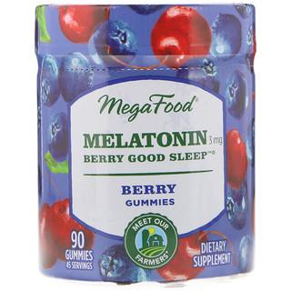 MegaFood, Melatonin, Berry Good Sleep, Berry, 3 mg, 90 Gummies