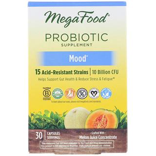 MegaFood, Probiotic Supplement, Mood, 30 Capsules
