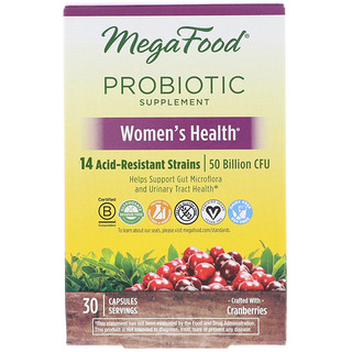 MegaFood, Probiotic Supplement, Women's Health, 30 Capsules
