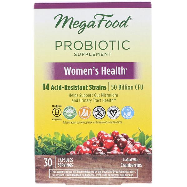 MegaFood, プロバイオティクスサプリメント、女性の健康、30カプセル