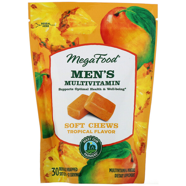 Men's Multivitamin Soft Chews, Sabor Tropical, 30 Gomas Mastigáveis Embaladas Individualmente