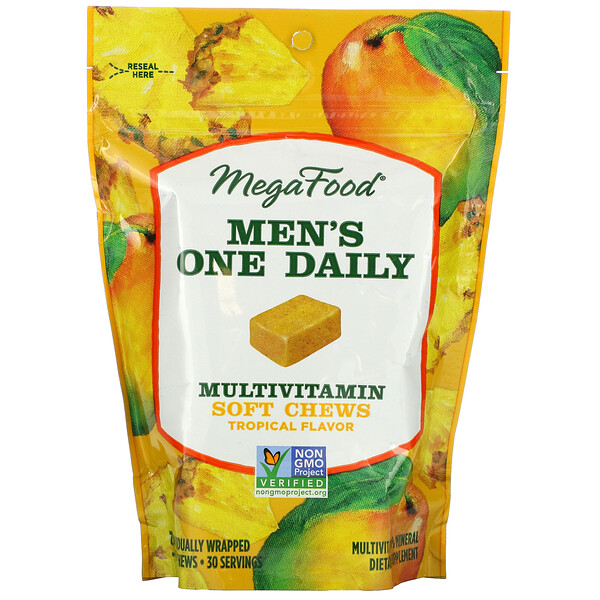 MegaFood, Men's One Daily Multivitamin Soft Chews, Tropical, 30 Individually Wrapped Soft Chews (Discontinued Item)