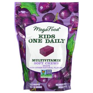 MegaFood, Kids One Daily، قطع طرية قابلة للمضغ متعددة الفيتامينات، نكهة العنب، 30 قطعة طرية قابلة للمضغ مغلفة على حدة