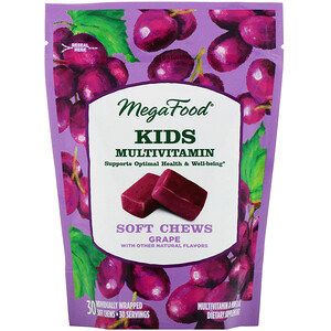 Мегафудс, Kids Multivitamin Soft Chews, Grape, 30 Individually Wrapped Soft Chews отзывы
