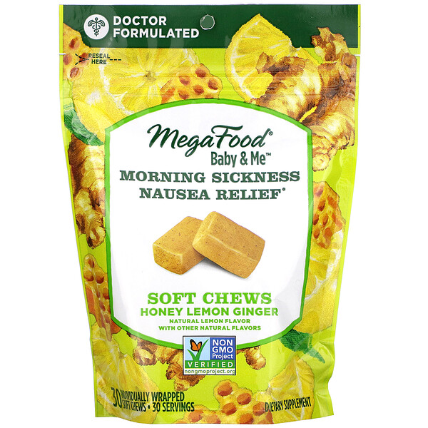 MegaFood, Baby & Me, Morning Sickness Nausea Relief, Honey Lemon Ginger, 30 Soft Chews