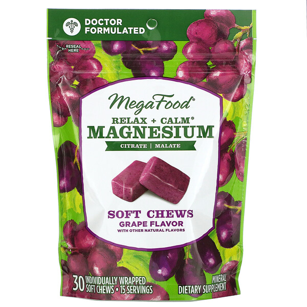 MegaFood, Relax + Calm Magnesium Soft Chews, Grape, 30 Individually Wrapped Soft Chews