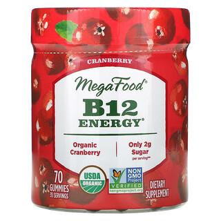 MegaFood, B12 Energy, Cranberry, 70 Gummies