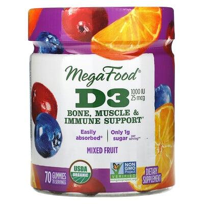 Купить MegaFood D3, Mixed Fruit, 1, 000 IU (25 mcg), 70 Gummies