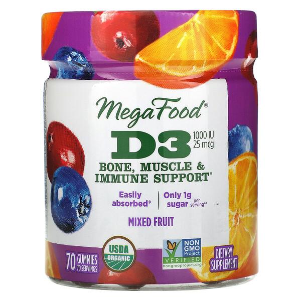 D3, Mixed Fruit, 1,000 IU (25 mcg), 70 Gummies