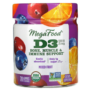 MegaFood, D3, Mixed Fruit, 1,000 IU (25 mcg), 70 Gummies