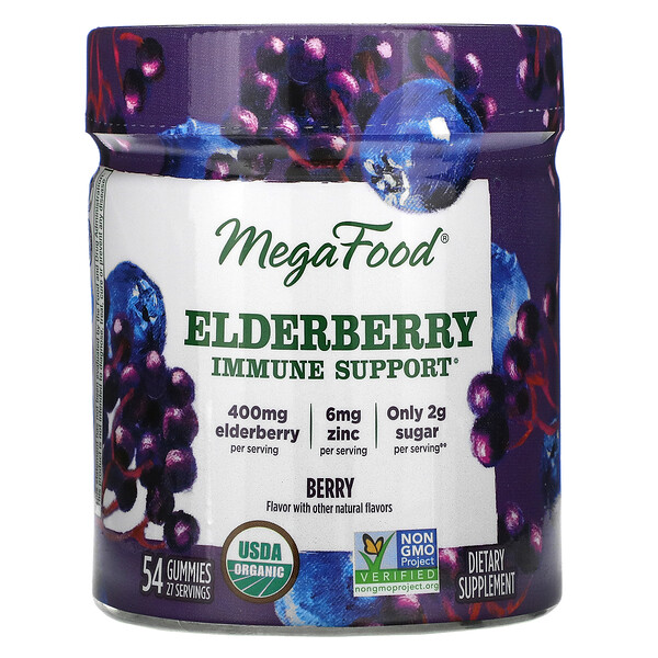 MegaFood, Elderberry Immune Support, Berry, 54 Gummies