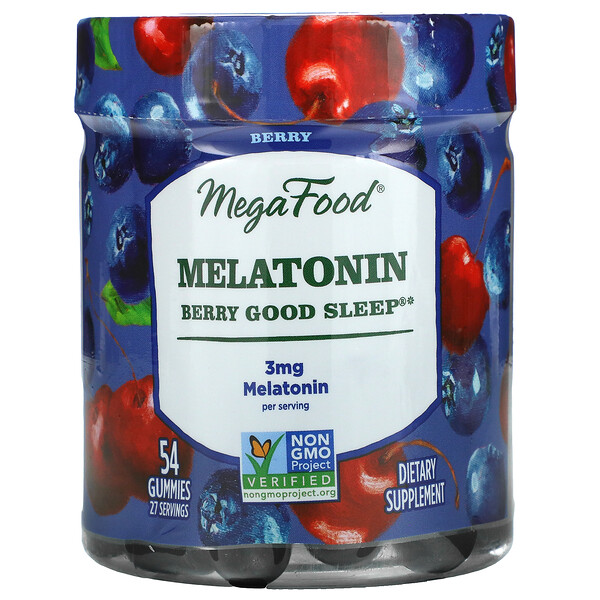 Melatonin Berry Good Sleep, 3 mg, Berry Flavor, 54 Gummies