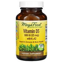 MegaFood, Vitamin D3 with K & K2, 5,000 IU (125 mcg), 120 Capsules