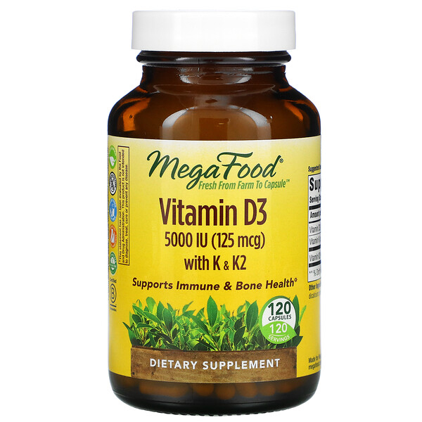 Vitamin D3 with K & K2, 5,000 IU (125 mcg), 120 Capsules