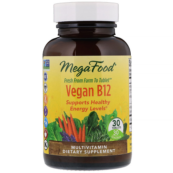 MegaFood, Vegan B12, 30 Tablets
