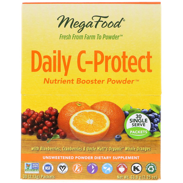 MegaFood, Daily C-Protect Nutrient Booster Powder, 30 Packets, (2.13 g) Each