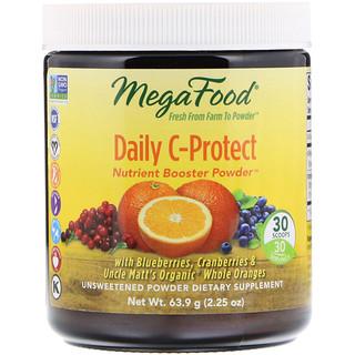 MegaFood, デイリーCプロテクト栄養強化パウダー、無糖、2.25 oz (63.9 g)