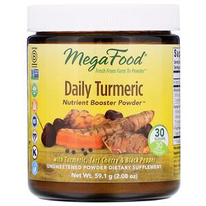 Мегафудс, Daily Turmeric, Nutrient Booster Powder, Unsweetened, 2.08 oz (59.1 g) отзывы покупателей