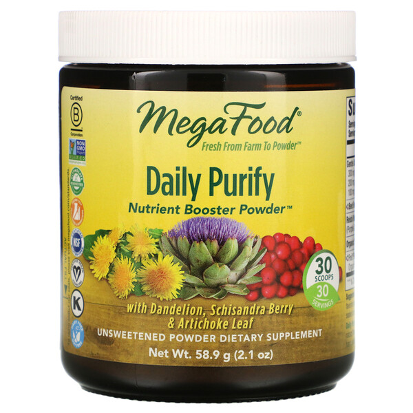 MegaFood, Daily Purify, Nutrient Booster Powder, Unsweetened, 2.1 oz (58.9 g) (Discontinued Item)