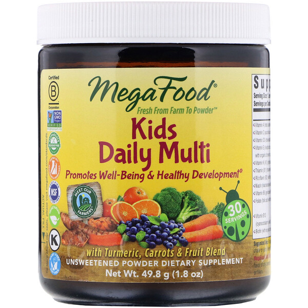 Kids Daily Multi Powder, Unsweetened, 1.8 oz (49.8 g)