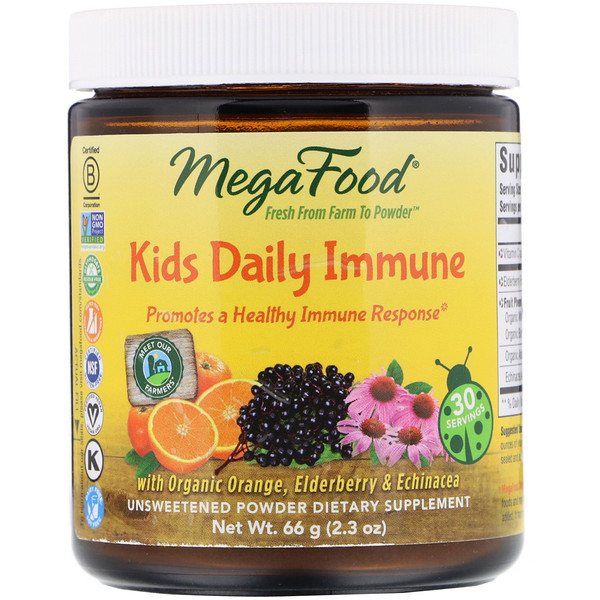 MegaFood, Kids Daily Immune, Unsweetened, 2.3 oz (66 g)