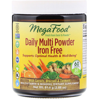 MegaFood, Daily Multi Powder, Iron Free, 2.88 oz (81.6 g)