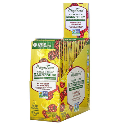 MegaFood Relax + Calm Magnesium, Raspberry Lemonade, 30 Single Serve Packets, 4.2 oz (120 g)