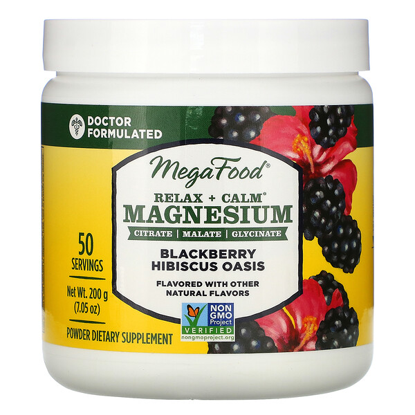 MegaFood, Relax + Calm Magnesium, Blackberry Hibiscus Oasis, 7.05 oz (200 g)