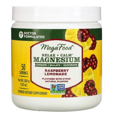 MegaFood Relax + Calm Magnesium, Raspberry Lemonade, 7.05 oz (200 g)