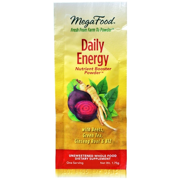 MegaFood, Daily Energy, Nutrient Booster Powder, 1.75 g (Discontinued Item)