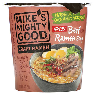 Mikes Mighty Good, Craft Ramen, Spicy Beef Flavor Ramen Soup, 1.8 oz (53 g)