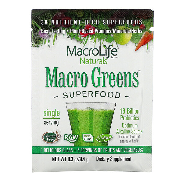 Macrolife Naturals, Macro Greens, Superfood, 0.3 oz (9.4 g)