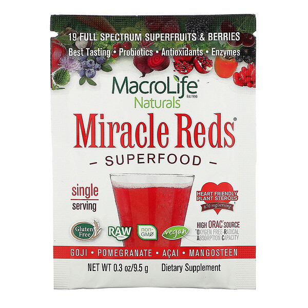 Macrolife Naturals, Miracle Reds, Superfood, Goji- Pomegranate- Acai- Mangosteen,  9.4 g
