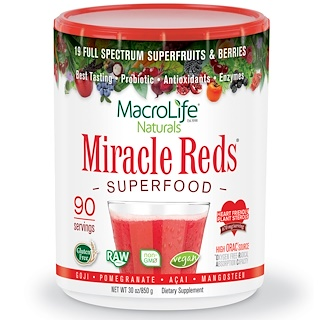 Macrolife Naturals, Miracle Reds, Superfood, Goji- Pomegranate- Acai- Mangosteen, 30 oz (850 g)