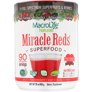 Macrolife Naturals, Miracle Reds, Superfood, Goji- Pomegranate- Acai- Mangosteen, 1.9 lbs (850 g)