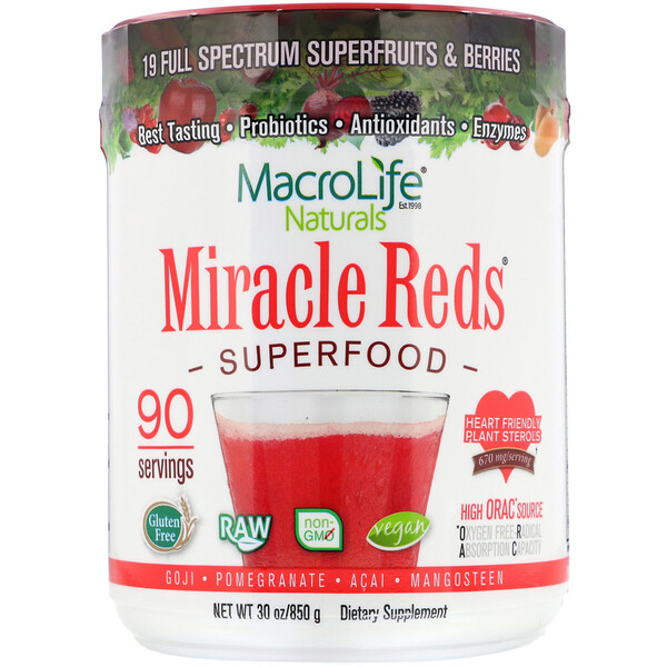 Miracle Reds, Superfood, Goji- Pomegranate- Acai- Mangosteen, 1.9 lbs (850 g)