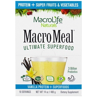Macrolife Naturals, MacroMeal Ultimate Superfood, Vanilla Protein + Superfoods, 10 Packets, 1.4 oz (40 g) Each