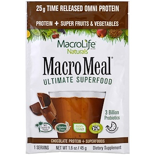Macrolife Naturals, MacroMeal Ultimate Superfood, Chocolate Protein + Superfoods, 1.6 oz (45 g)