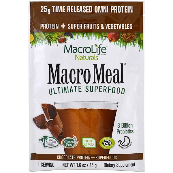 Macrolife Naturals, MacroMeal, Chocolate Protein + Superfoods, 1.6 oz (45 g) (Discontinued Item)