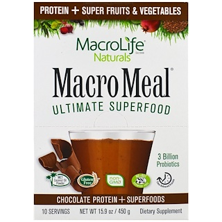 Macrolife Naturals, MacroMeal, Chocolate Protein + Superfoods, 10 Packets, 1.6 oz (45 g) Each