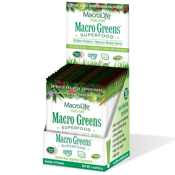 Macrolife Naturals, Macro Greens, Super Food Supplement, 4 oz (112.8 g) 12 Packets (Discontinued Item)
