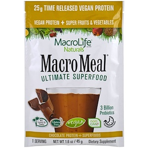 Макролифе Натуралс, Macromeal Ultimate Superfood, Chocolate Protein + Superfoods, 1.6 oz (45 g) отзывы покупателей