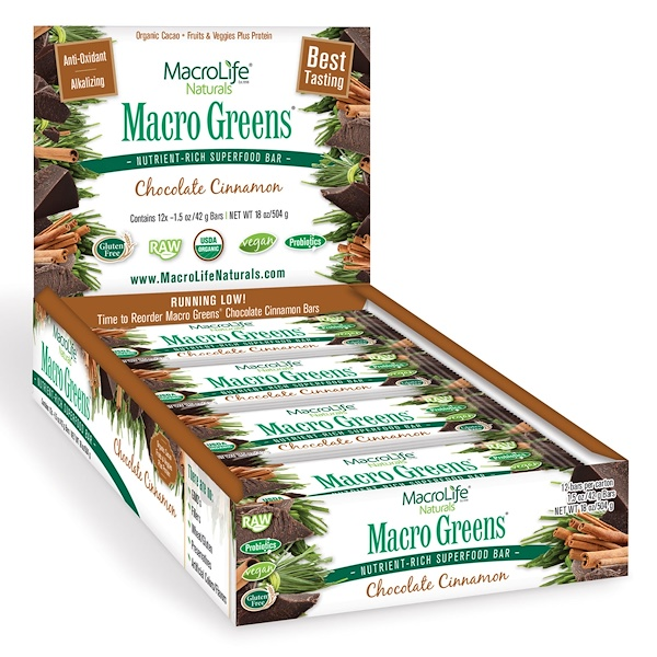 Macrolife Naturals, Organic, Macro Greens, Nutrient Rich Superfood Bar, Chocolate Cinnamon, 12 Bars, 1.5 oz (42 g) Each (Discontinued Item)