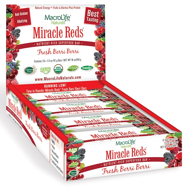 Macrolife Naturals, Organic, Miracle Reds, Nutrient Rich Superfood Bar, Fresh Berri Berri, 12 Bars, 1.5 oz (42 g) Each (Discontinued Item)